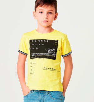 Boy's 100% cotton short-sleeved t-shirt with different prints YELLOW