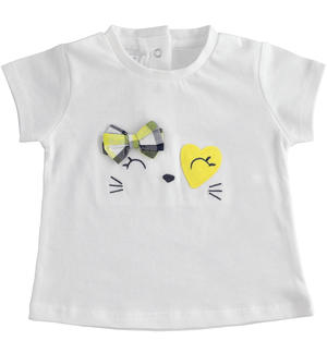 Cotton T-shirt with applications WHITE