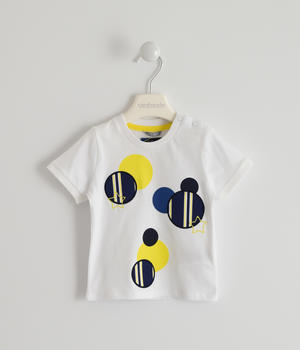100% cotton T-shirt with striped circles and stars WHITE