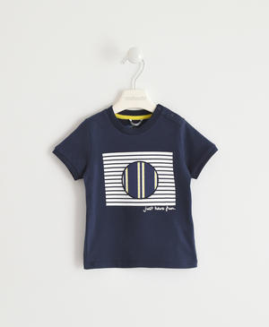 100% cotton T-shirt with striped circles and stars BLUE
