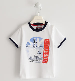 100% cotton T-shirt with contrasting rib WHITE