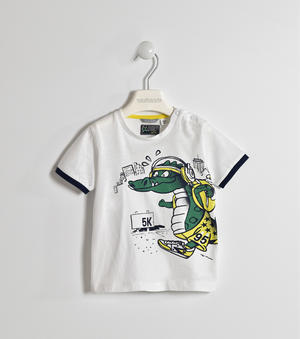 100% cotton T-shirt with dragon WHITE