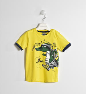 100% cotton T-shirt with dragon YELLOW