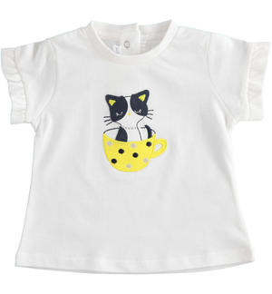 100% cotton t-shirt with kitten WHITE