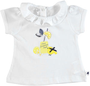 100% cotton t-shirt with puffed sleeves for baby girls WHITE