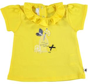 100% cotton t-shirt with puffed sleeves for baby girls YELLOW
