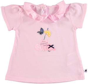 100% cotton t-shirt with puffed sleeves for baby girls PINK