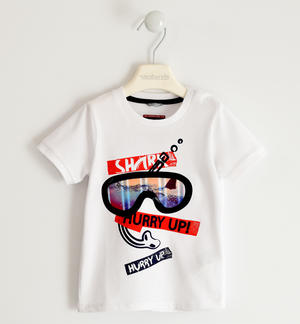 100% cotton T-shirt with diving mask WHITE