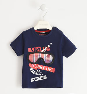 100% cotton T-shirt with diving mask BLUE