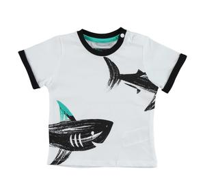 100% cotton t-shirt with sharks WHITE