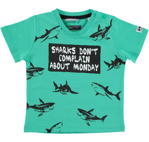100% cotton t-shirt with sharks for boys GREEN