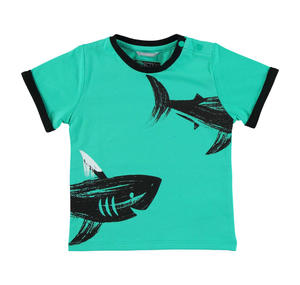 100% cotton t-shirt with sharks GREEN