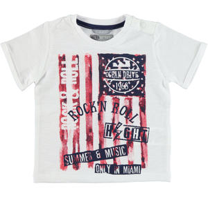 100% cotton t-shirt with rock 'n roll print WHITE