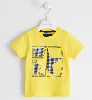 100% cotton t-shirt with glitter star YELLOW
