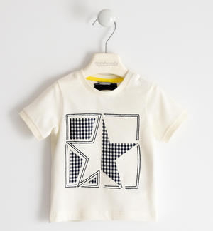 100% cotton t-shirt with glitter star CREAM