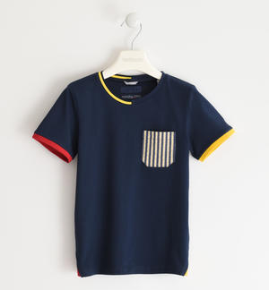 100% cotton T-shirt with coloured pocket BLUE