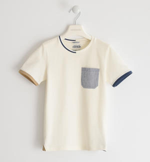 100% cotton T-shirt with coloured pocket CREAM