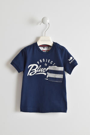 100% cotton T-shirt with striped pocket BLUE