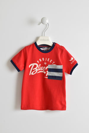 100% cotton T-shirt with striped pocket RED