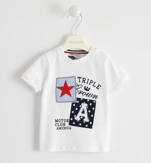 100% cotton T-shirt with patches design WHITE