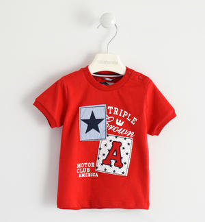 100% cotton T-shirt with patches design RED