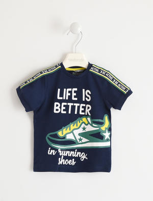 "T-shirt 100% cotone ""Life is Better"" BLU"