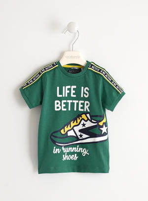 "T-shirt 100% cotone ""Life is Better"" VERDE"