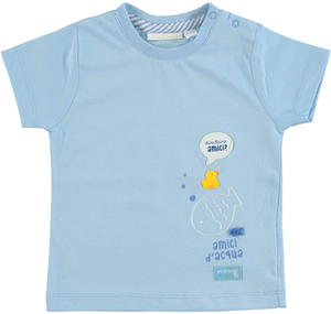 100% cotton T-shirt with water friends little fish BLUE