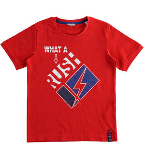 "T-shirt 100% cotone ""What a rush"" ROSSO"