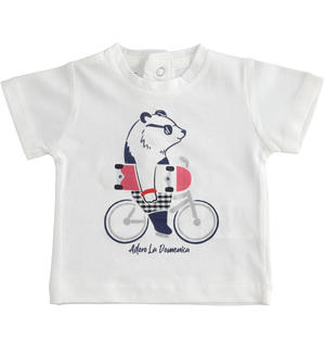 Short-sleeved 100% cotton baby boy's t-shirt with panda WHITE