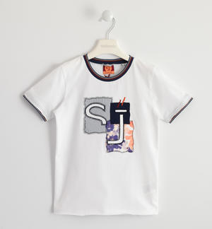 Boy's short-sleeved 100% cotton t-shirt with fabric patches WHITE