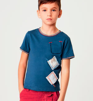 Boy's short-sleeved 100% cotton t-shirt with fabric patches BLUE