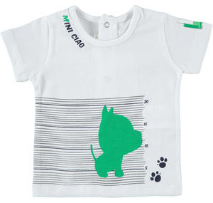 100% cotton short-sleeved baby boy T-shirt WHITE