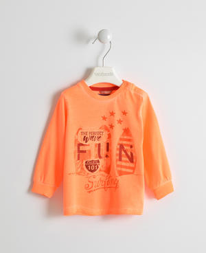 Long-sleeved T-shirt in fluorescent orange ORANGE
