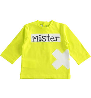 Long-sleeved baby boy T-shirt in lime colour