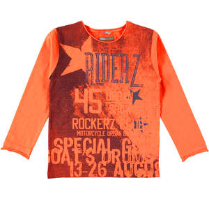 Long-sleeved vintage print T-shirt ORANGE