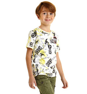 100% cotton short sleeved t-shirt with skulls YELLOW