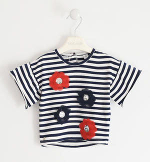T-shirt with striped fantasy and flower applications BLUE