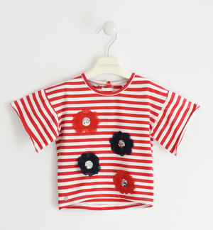 T-shirt with striped fantasy and flower applications