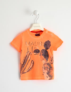 Fluo T-shirt with cactus ORANGE