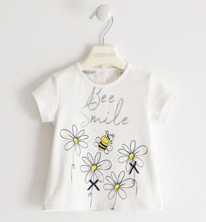 T-shirt with bee and daisies WHITE