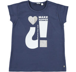 T-shirt con cuore in jersey stretch BLU