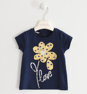 T-shirt with reversible sequin flower BLUE