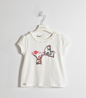 T-shirt with sequin embroidery CREAM
