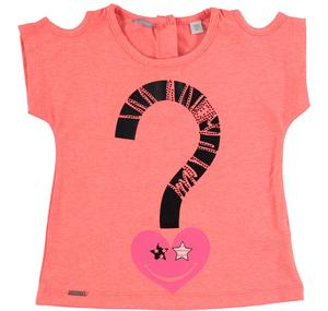 T-shirt with open shoulders in stretch cotton jersey with a rhinestone print PINK