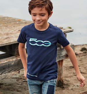 "T-shirt with print made of organic cotton ""Sarabanda interprets The New 500"" BLUE"