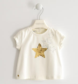 T-shirt with sequin star CREAM