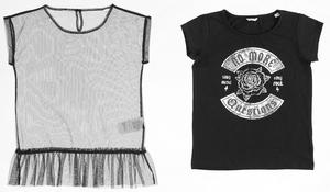 T-shirt with frilly top with ruffled bottom hem BLACK