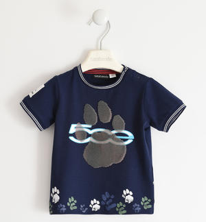 "T-shirt with paws in stretch organic cotton ""Sarabanda interprets The New 500"" BLUE"