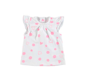 Hearts and polka dots cotton t-shirt FUCSIA